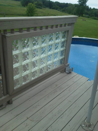 built in deck by pool