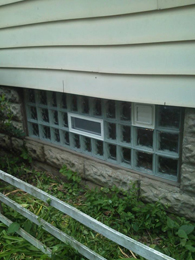 Glass Block with No Vent and dryer vent